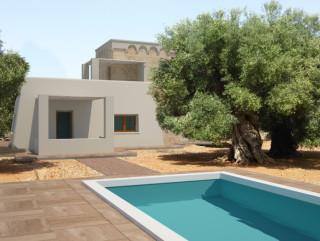 Pescoluse villa con piscina vista mare da realizzare oltre 2 dependance salve - Progetto villa con piscina ...