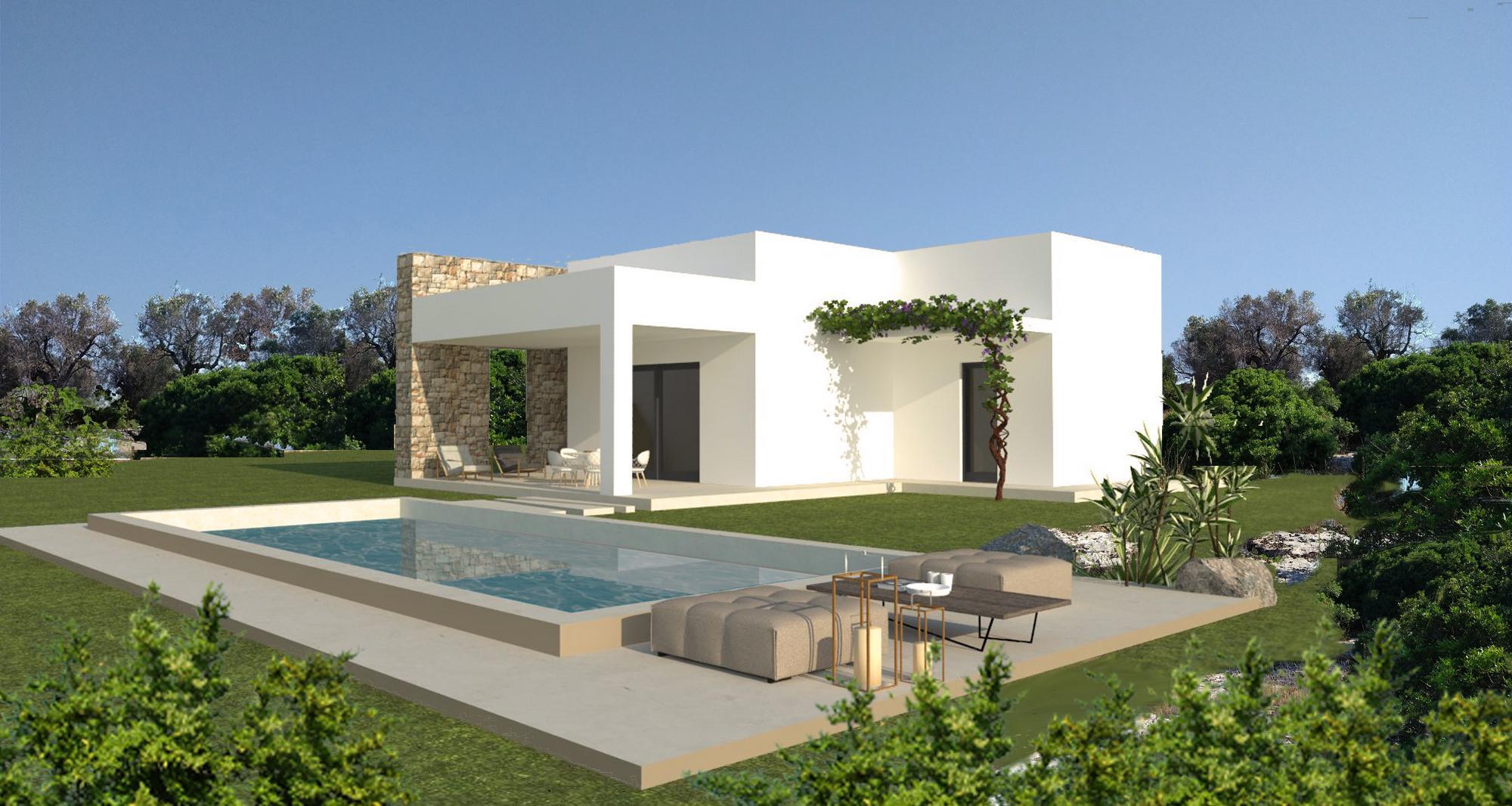 Terreno con progetto Villa e Piscina, con ulivi e cespugli mediterranei. - Morciano di Leuca