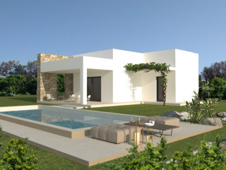 Land with Villa and Pool project, with Mediterranean olive trees and bushes.